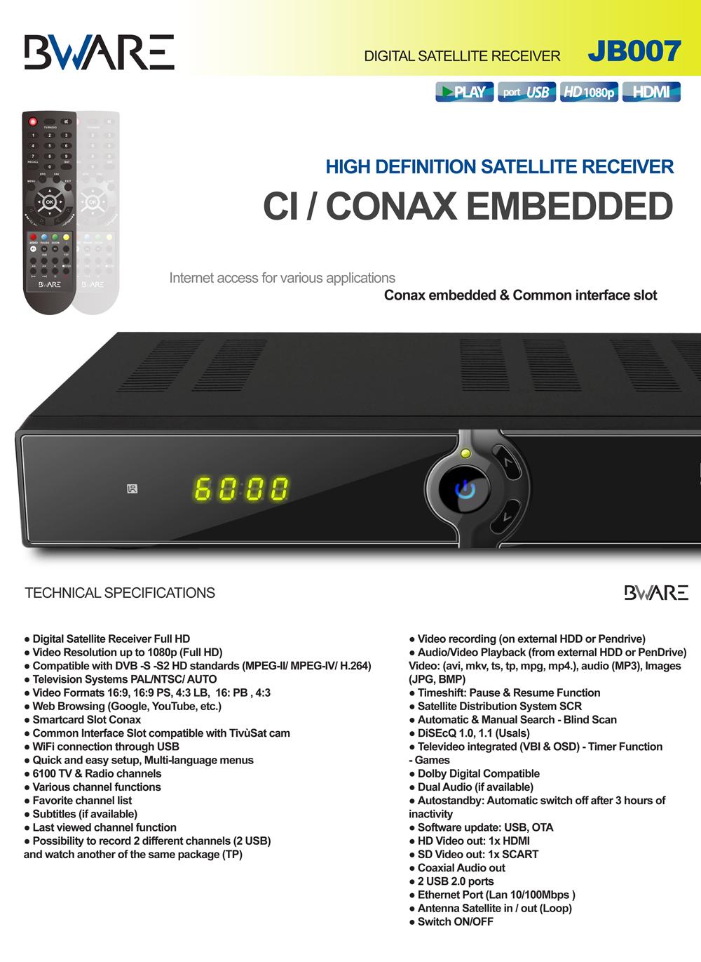 BWare JB007 DVB-S/ S2 HD CI Receiver LAN USB PVR Ready Full 1080p
