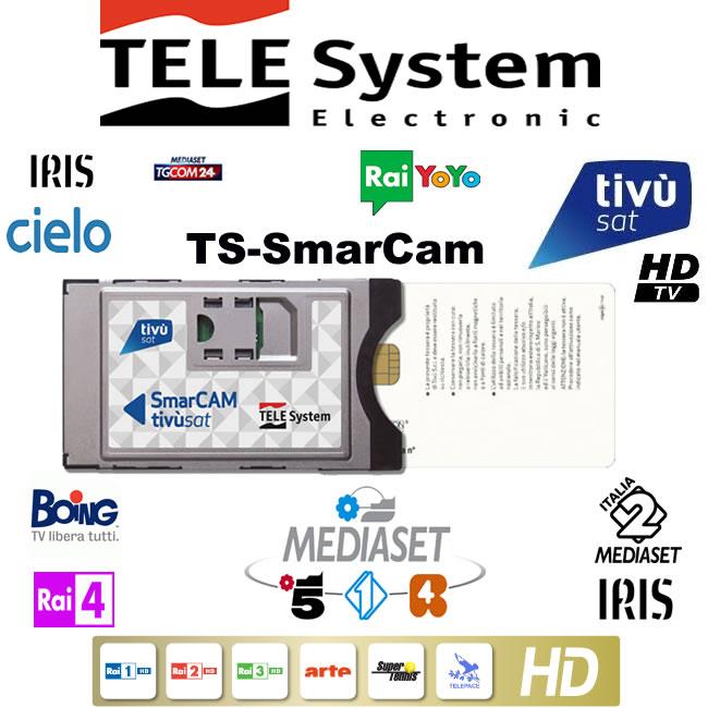 TELE System TS Ultra 4K HD DVB-S2/ T2 HEVC CI+ Decoder with Tivusat HD  Cam+Card*