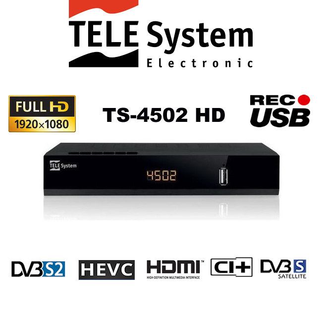 Reproductor//sintonizador TELE System TS4502 S2 Ci Sat/élite Alta Definici/ón Total Negro TV Set-Top Boxes Sat/élite, Digital, DVB-S,DVB-S2, 1920 x 1080 Pixeles, 1080p, 4:3, 16:9